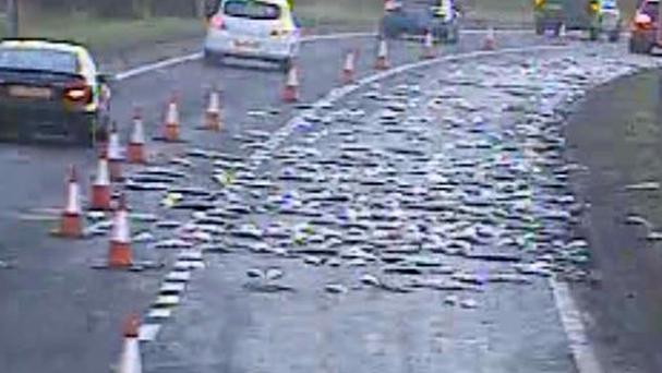 Photo from the Twitter feed of @trafficscotland of one lane closed on the A737 in Renfrewshire after a lorry shed a load of fish
