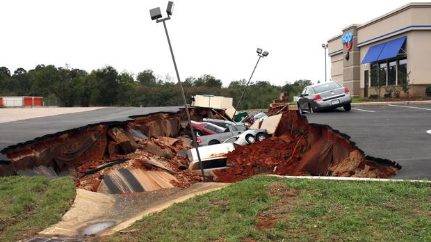 Experts are trying to determine the cause of the collapse (Michael Stewart/The Meridian Star via AP)