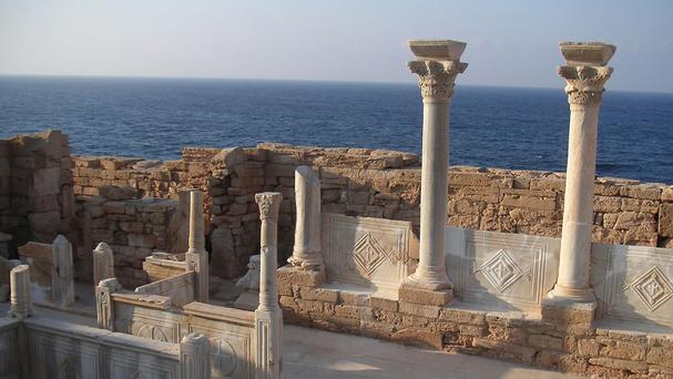 The ruins of a Byzantine church in Athrun, Libya, which is of a similar type to a