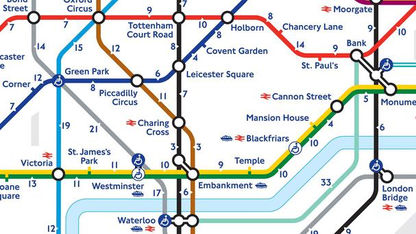 Transport for London's Walking Tube map that tells you how long it takes to walk between stations (TFL/PA)