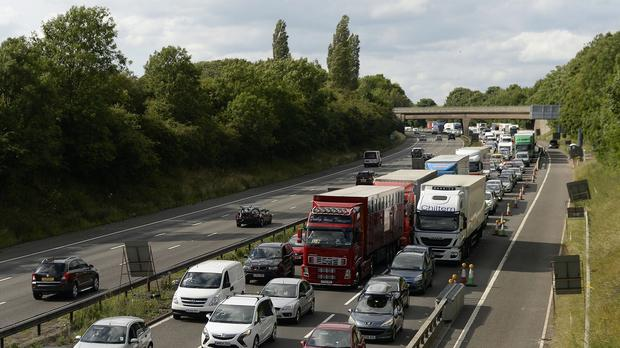Motorists on the M6 were made to wait by a four-legged intruder