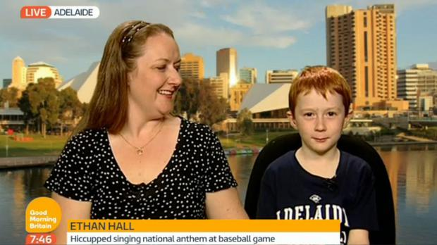 A screengrab from ITV of 7-year-old Australian boy Ethan Hall appearing on Good Morning Britain with his mother Kylie (ITV/PA)