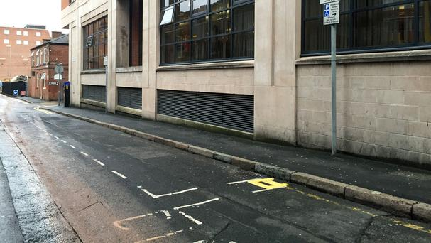 Double yellow lines on Chatham Street, Leicester, measuring less than two feet in length have been painted.
