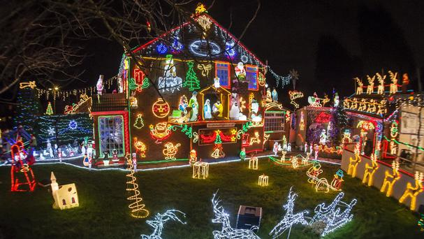 Christmas lights at the house in Brentry, Bristol