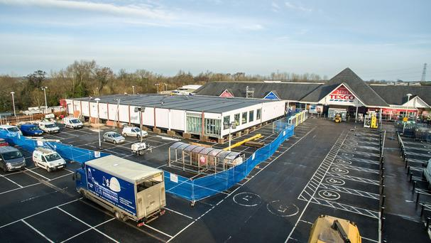 A 10,000 sq ft temporary replacement store built in the space of one week in the car park of Tesco's flooded superstore in Warwick Road, Carlisle (Tesco/PA)
