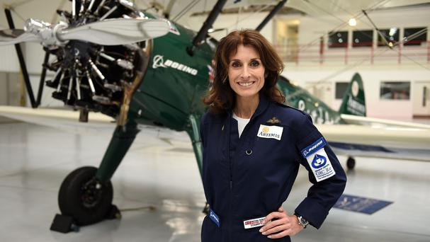 Tracey Curtis-Taylor in front of her 1942 Boeing Stearman Spirit of Artemis biplane