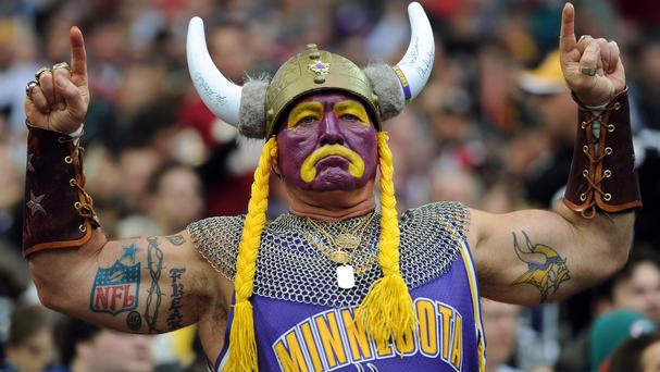 A Minnesota Vikings fan supporting his team at Wembley Stadium
