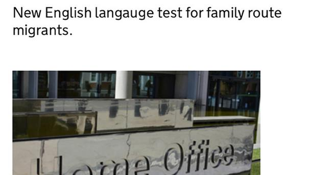 A screen grab from the Home Office website showing their spelling error in an announcement about new English tests
