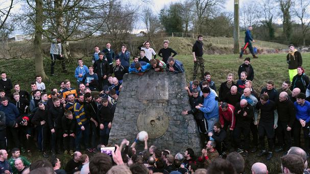 The Up'Ards score a goal during the Royal Shrovetide Football match in Ashbourne, Derbyshire.