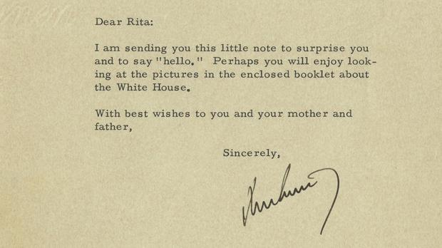 The letter sent by US president John F Kennedy to five-year-old Rita Knight in 1962 (Raab Collection/ AP)