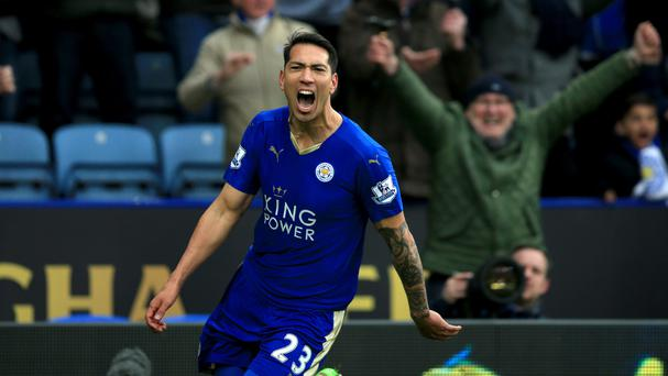 Fans celebrate Leonardo Ulloa's goal for Leicester City