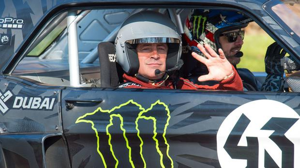 Matt LeBlanc, left, and rally driver Ken Block during the filming of BBC's Top Gear in Westminster