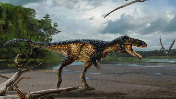 An artist's impression of the horse-sized tyrannosaur dinosaur (PA/Todd Marshall)