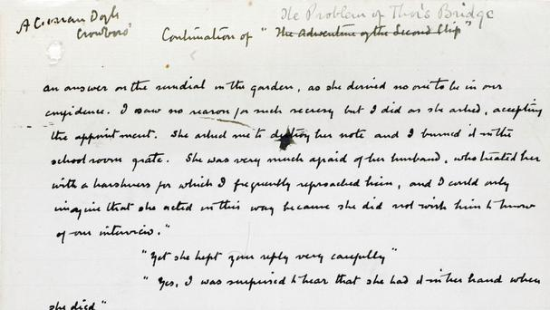 A handwritten page from the manuscript of The Problem Of Thor Bridge by Sir Arthur Conan Doyle (Bonhams/PA)
