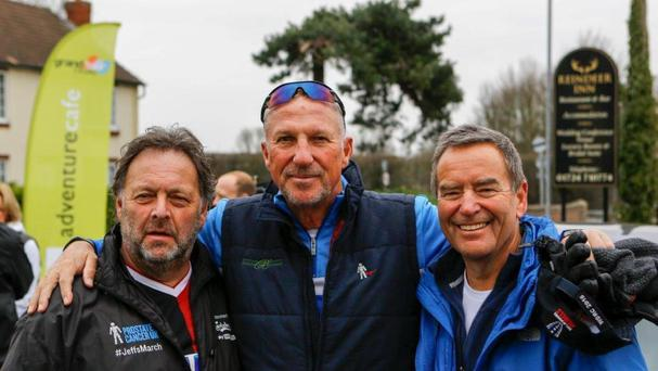 Sir Ian Botham was one famous face to join Jeff Stelling (right) during his walk