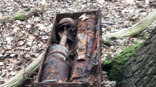 Six Second World War anti-tank rockets which have been found behind a bus stop in Coopersale (Essex Police/PA)