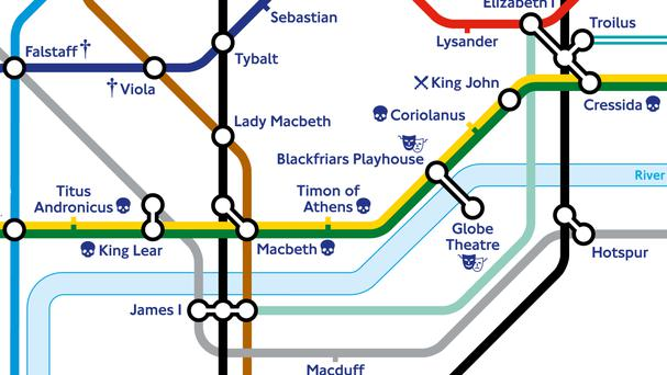 The special edition Tube map where station names have been replaced with characters, plays and modern adaptations of Shakespeare's work (Transport for London/Shakespeare's Globe/PA)