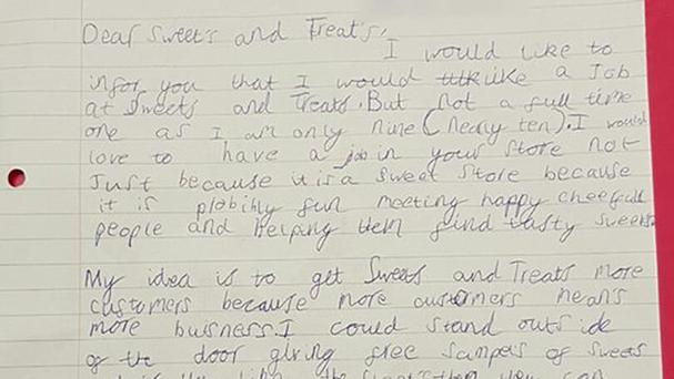 A handwritten letter sent by schoolboy Ryan Dobson to a sweet shop in South Shields (Sweets and Treats/PA)
