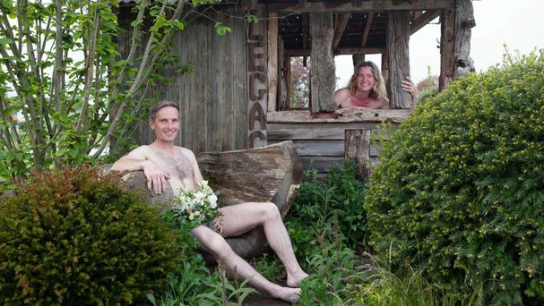 Mark and Gig Eveleigh celebrate World Naked Gardening Day at the RHS Malvern Spring Festival