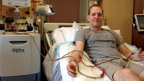 Rhys Morgan during a bone marrow donation, which he lived-blogged (Rhys Morgan/Collect/PA)