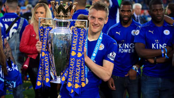 Jamie Vardy celebrates winning the Barclays Premier League