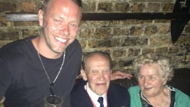 Jacob Husley (left) with an elderly Polish couple who partied until 5am at Fabric nightclub in Farringdon, London.