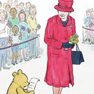 An illustration by Mark Burgess of Winnie-the-Pooh with the Queen from a new adventure story which has been released to celebrate both of their 90th birthdays (Disney/PA)