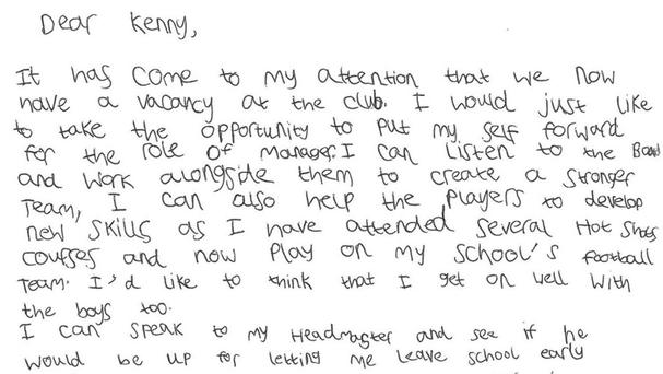 The seven-year-old sent a handwritten letter to club chairman Kenny Cameron (ICT/PA Wire)