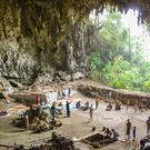 Researchers at the Liang Bua cave on the Indonesian island of Flores