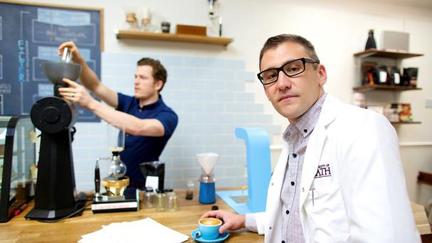 Christopher Hendon (right), and Maxwell Colonna-Dashwood , who say new research into making good coffee will have a far-reaching impact (University of Bath/PA)