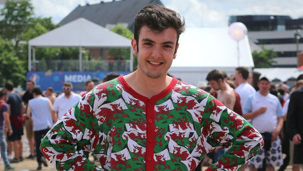 Owen Midha in his Wales onesie in the fan zone in France