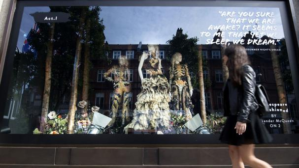 The Alexander McQueen window at Selfridges in London, as the store launches a summer of Shakespearean celebrations