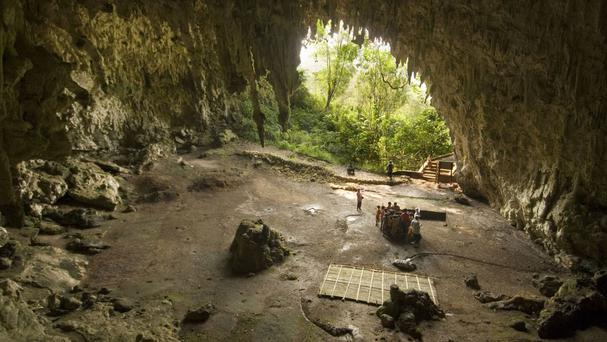 The Liang Bua cave on the Indonesian island of Flores, where scientists have found evidence of both