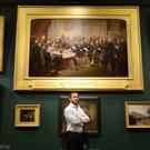 Presenter Giles Coren launches the nationwide treasure hunt at the Guildhall Art Gallery in London