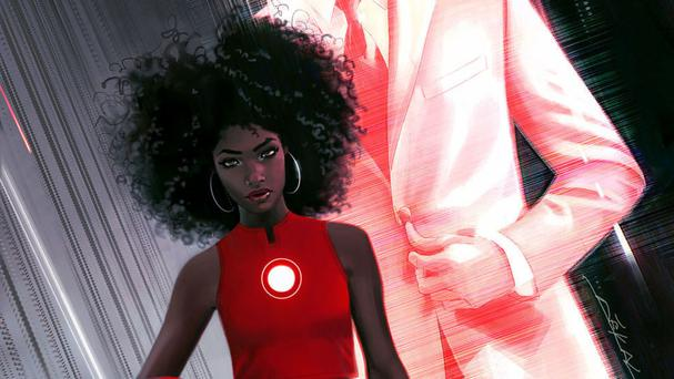 The cover of Invincible Ironman, featuring the character Riri Williams, a science genius, who will replace Tony Stark in the superhero role (Marvel Entertainment/AP)