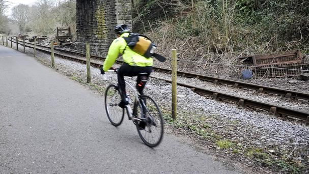 The cyclist was riding on a footpath. Stock photo