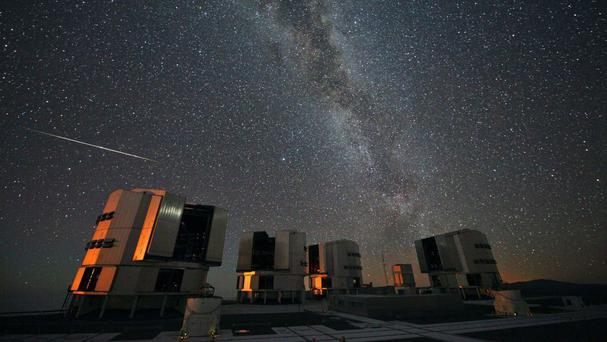 A Perseid seen in August 2010 above the European Southern Observatory's Very Large Telescope at Paranal, Chile (European Space Agency/PA)