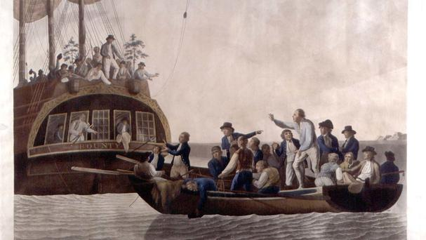 A hand-coloured engraving dated 1790, depicting Captain William Bligh being cast adrift from The Bounty