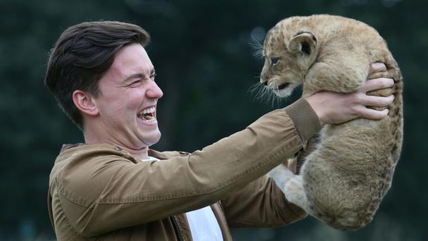 ParalympicsGB team member Gordon Reid meets Reid, a lion cub named after him, as he visits Blair Drummond Safari Park in Stirling before flying out to Rio