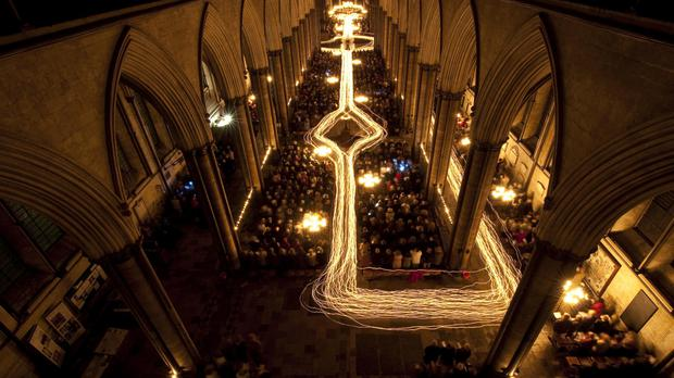 Light trails inside Salisbury Cathedral