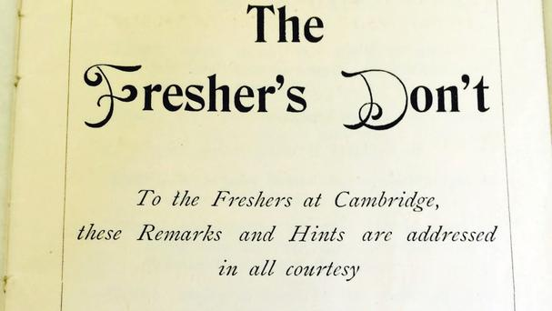 The Fresher's Don't conduct manual from 1893 (University of Cambridge/PA)