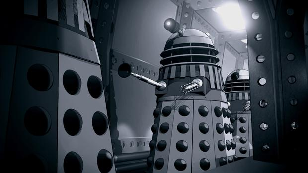 A scene from an animated version of lost Doctor Who adventure The Power Of The Daleks which will be released exactly 50 years after its one and only showing on the BBC