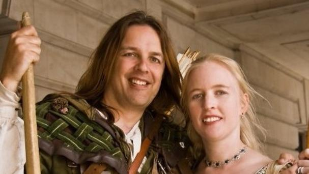 Nottingham's official Robin Hood Tim Pollard with fiancee Sally Chappell as Maid Marian