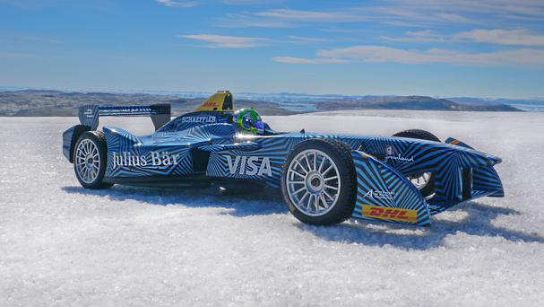 Formula E driver Lucas di Grassi takes his electric racing car for a spin on the ice sheet inside the Arctic circle