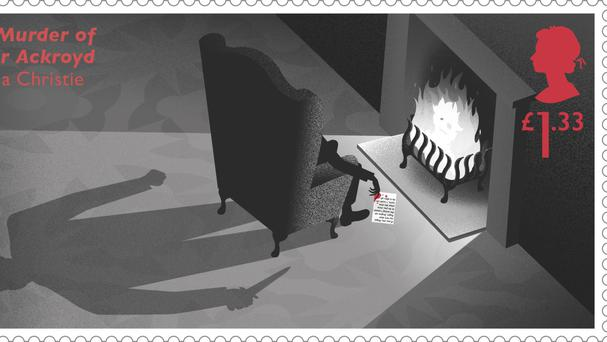One of the new stamps which are to mark the centenary of the year Agatha Christie wrote her first detective novel. (Royal Mail/PA)