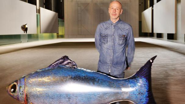 French artist Philippe Parreno with his floating fish