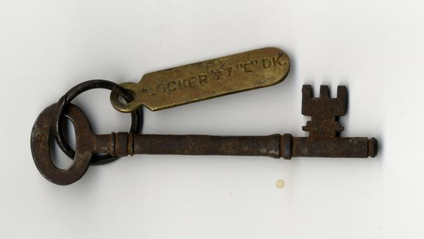 A locker key from the Titanic belonging to deceased passenger Sidney Sedunary could fetch £35,000 at auction (Henry Aldridge & Son/PA)