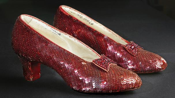 The sequin-covered ruby slippers worn by Judy Garland in The Wizard Of Oz (AP)