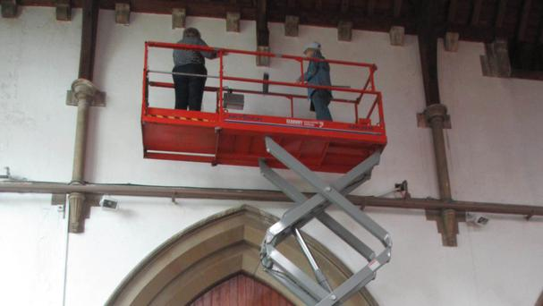 The church hired the mini cherry picker to clean the windows and by carrying out the work themselves they were able to keep costs down