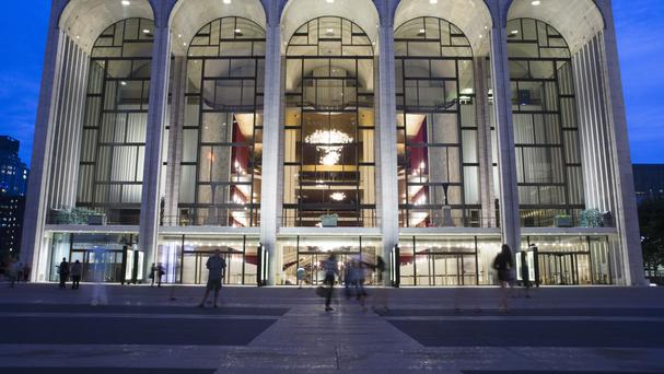 The Metropolitan Opera house at New York's Lincoln Centre, where a performance was stopped after someone sprinkled powder into the orchestra pit (AP)